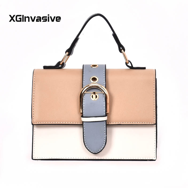Contrast Lady Tote Shoulder Messenger Bag Crossbody Women 39 s Designer Handbag 2019 Fashion New High quality PU Leather Women bag in Shoulder Bags from Luggage amp Bags