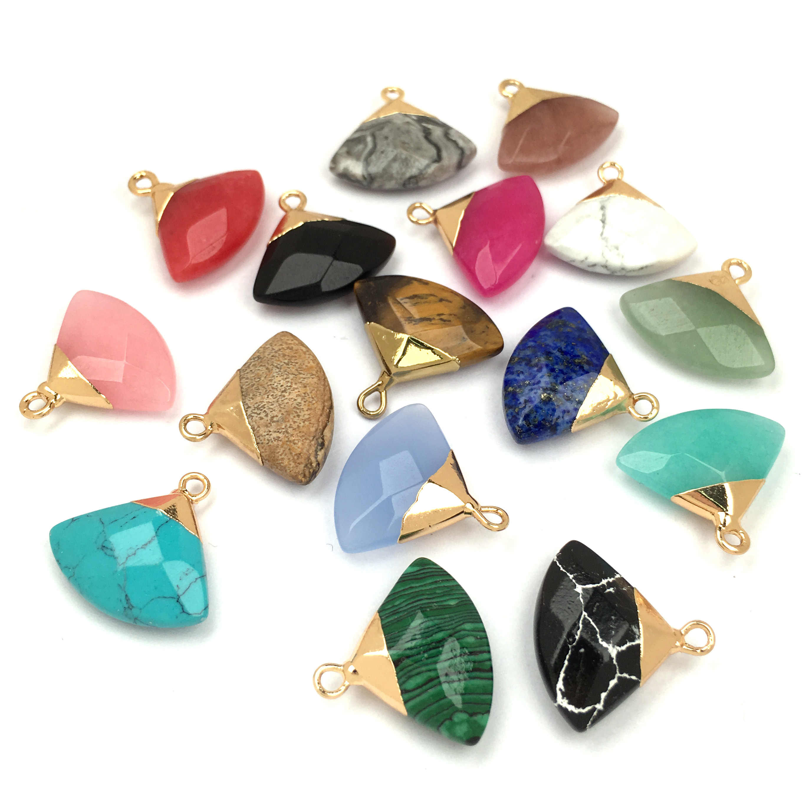 Natural Stone Crystal Pendant charm Fan Shape Pendants for Jewelry Making Supplies DIY Fine necklace accessories