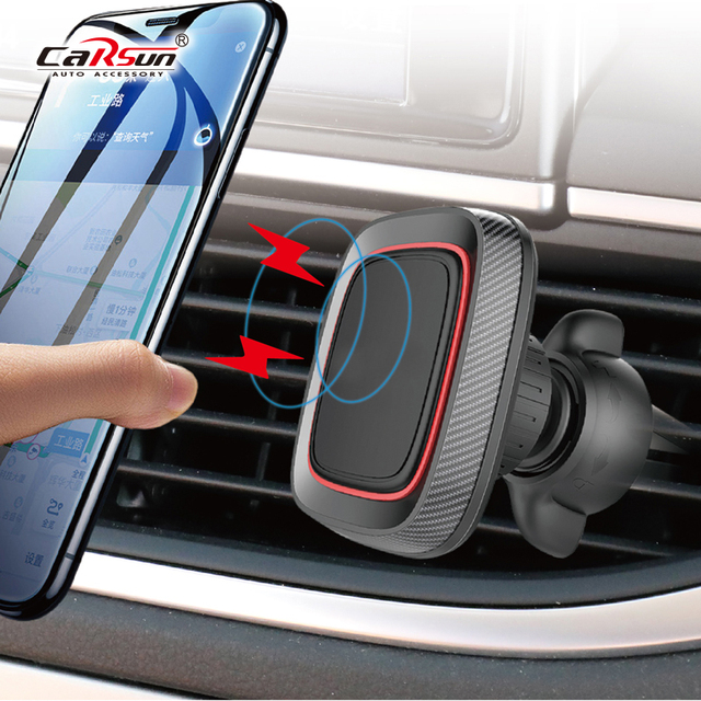 Car Phone Holder carbon fiber pattern magnetic mobile phone holder Car Accessories interior Car air outlet seat organizer