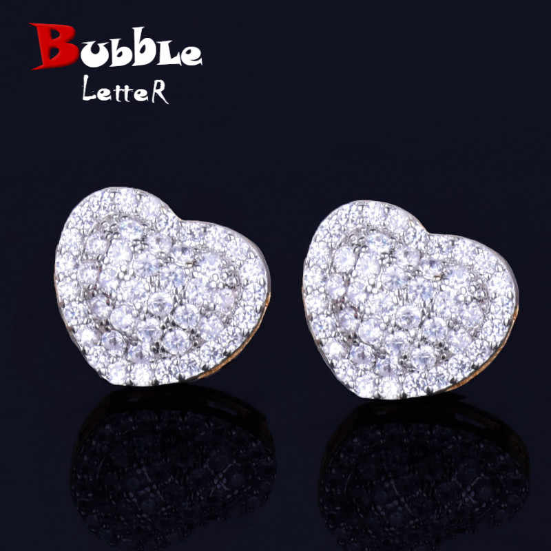 14MM Heart-shaped Men Women Stud Earring Gold Silver Full Cubic Zircon Screw Back Earrings Fashion Hip Hop Jewelry for Gift