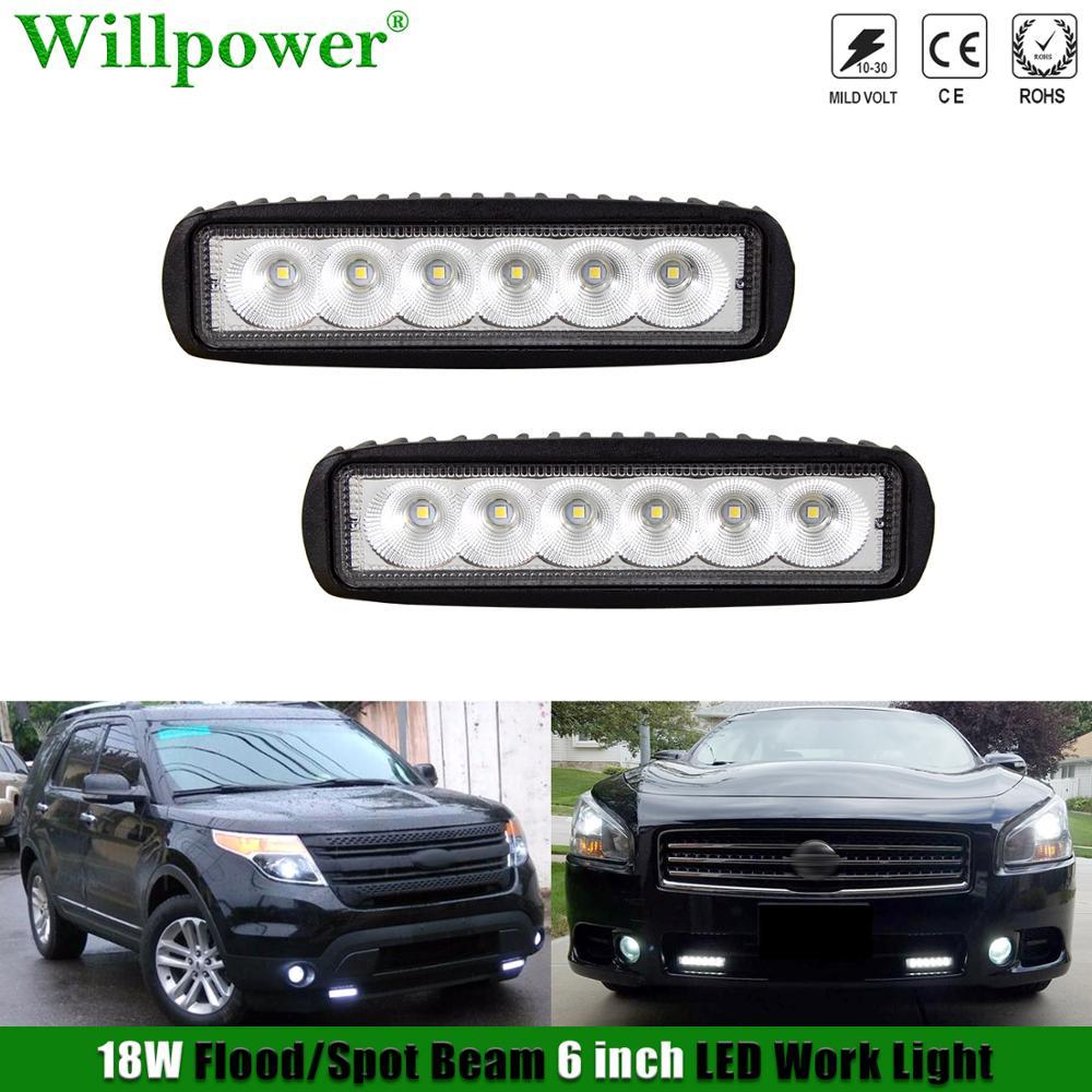 """2 sztuk 4x4 ciężarówka samochodów LED strąki światła przeciwmgielne 18W 6 """"Mini reflektor Offroad 4WD ATV UTV SUV Pickup odwrotnej lampa zapasowa powodzi jazdy"""