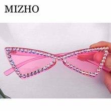 MIZHO Narrow Original Celebrity Cat eye Sunglasses Women Tiny Crystal Trendy Ret
