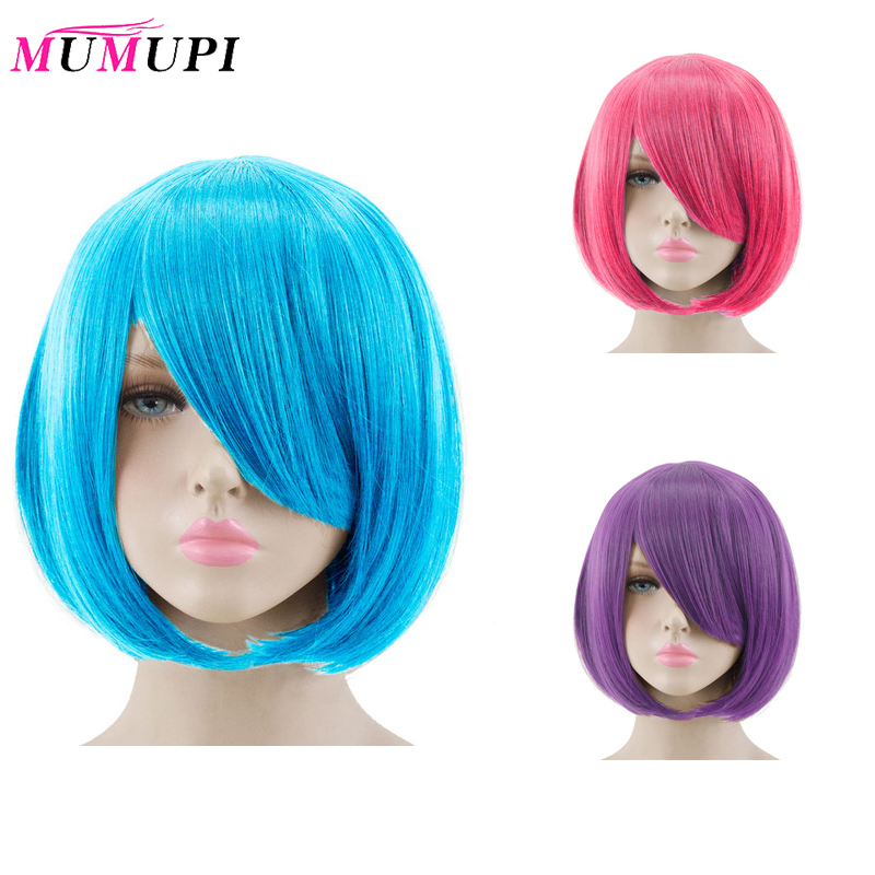 MUMUPI Short Bob Wig Synthetic Straight Costume Cos-play Hairpiece Sky Blue/Red/Pink/Purple Colors Heat Resistant Hair Toupee