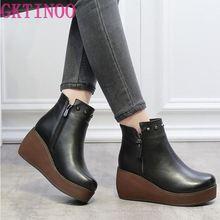 2020 新ファッション本革の女性のブーツ冬の靴カジュアルモカシン女性ブーツウェッジシューズハンドメイドの靴女性のブーツ
