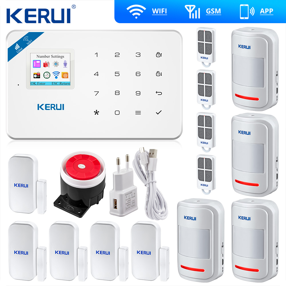 Kerui W18 Wireless Wifi GSM Alarm Systems Security IOS APP GSM SMS Burglar Alarm System Motion Sensor Russian Warehouse