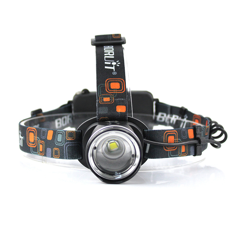 BORUiT RJ-2190 XML T6 LED Headlamp 3-Mode Zoom Headlight High Power <font><b>3000LM</b></font> Head Torch 18650 Rechargeable Hunting Flashlight image