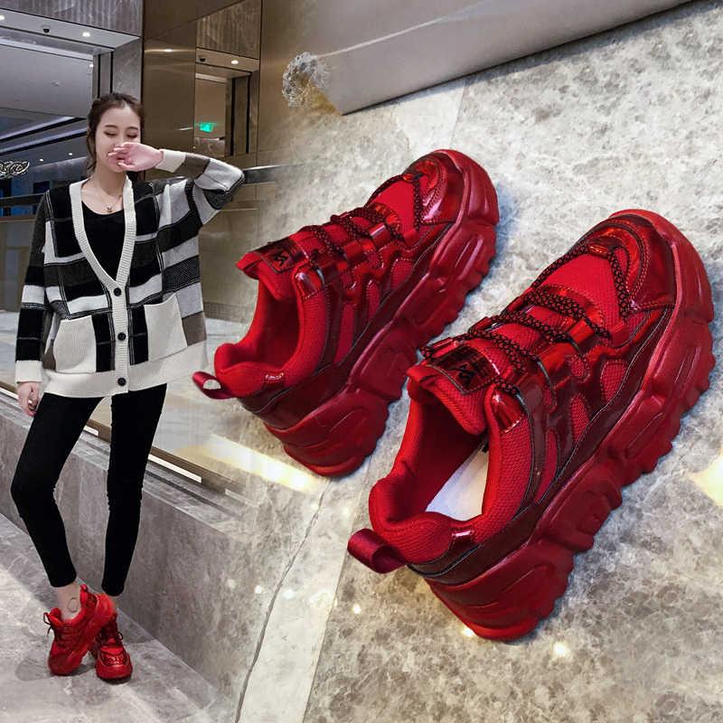 Ins/Женская обувь для папы Цвет Красный Новинка 2020 года сезон весна Женская в