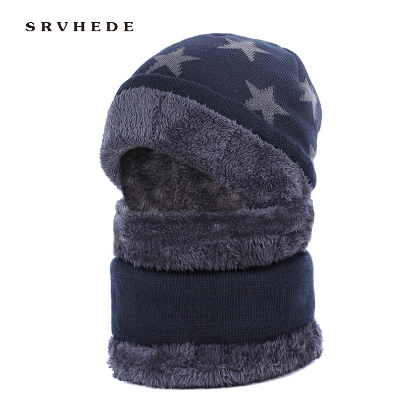 2 Piece Scarf Hat 2019 Winter Knit Hat Peas Men's Scarf Skullies Hat Winter Hat M&s. Mens Hat Gorras Hat Mask Hat