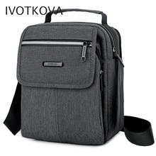 IVOTKOVA Men shoulder bag fashion multi function 2 main zipper pockets mens handbags business and leisure cross body bag