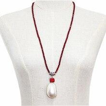 """Удивленный подарок подвеска на длинной цепочке ожерелье для Женский натуральный камень Rubys мать оболочки жемчужные коралловые бисерные ожерелья, ювелирные изделия 3"""" B6"""