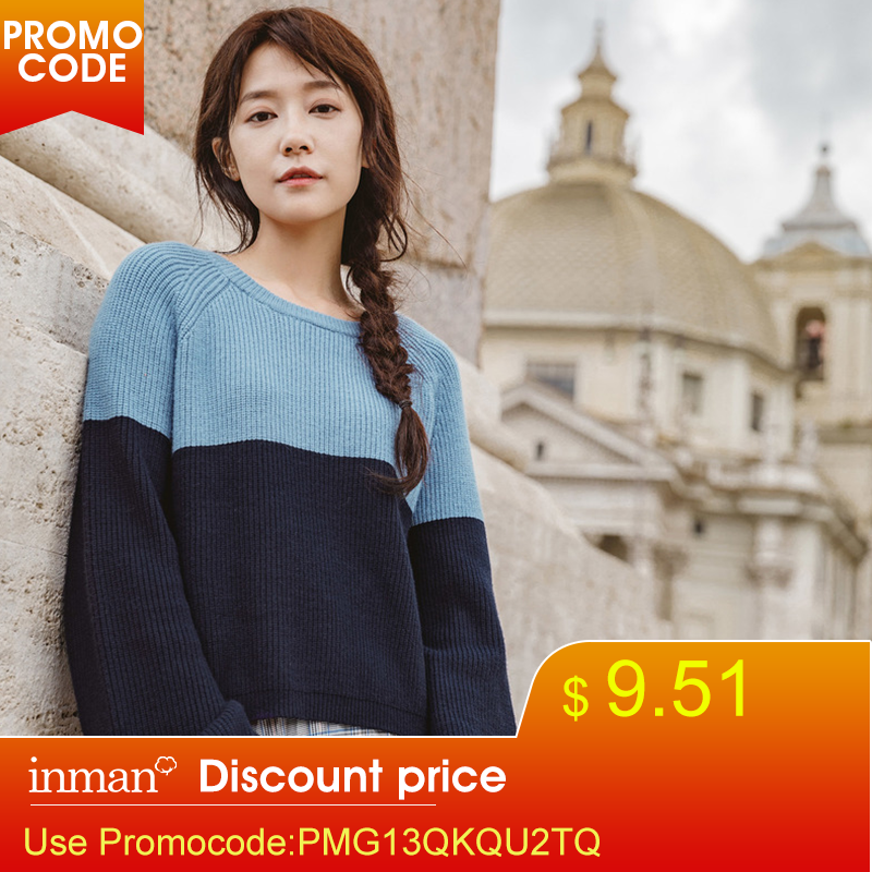 INMAN Spring Autumn Boat Neck Lantern Sleeve Viscose Elegant Style Bandage Patchwork Women Sweaters And Pullovers