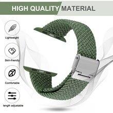 Pulseiras de relógio de maçã de náilon elástico ajustável 44mm 40mm 38mm 42mm, iwatch bandas para homem feminino, laço de solo trançado ajustável