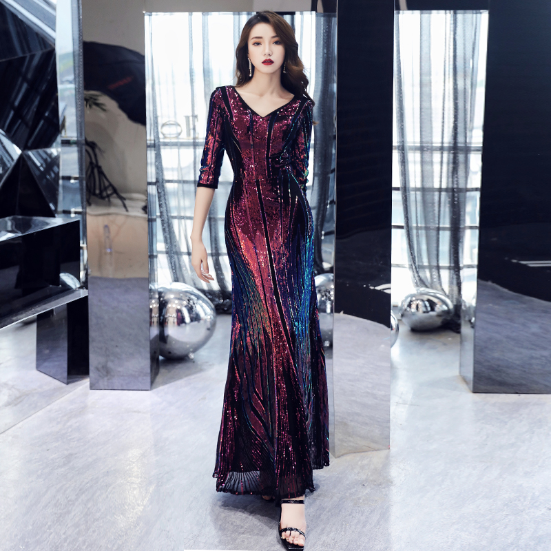 AE670 New Style Sparkle Evening Dresses Long Sequined A-Line V-Neck Half Sleeve Formal Party Dresses Robe De Soiree
