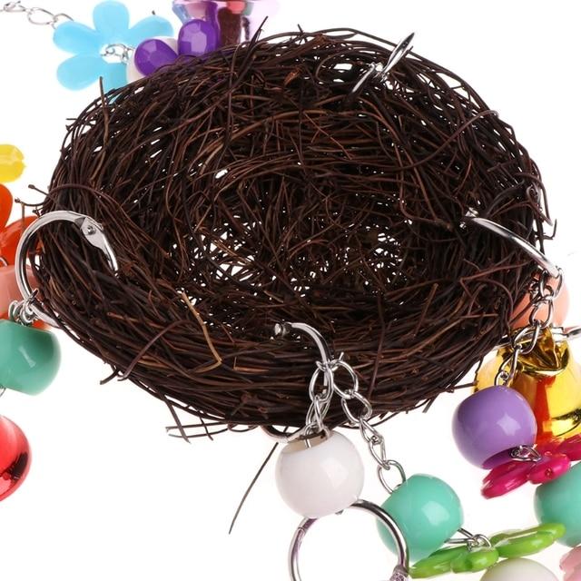 Nido de mimbre natural columpio para aves de juguete con soporte de percha de jaula de campanas para percha Perico