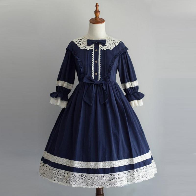 Imily Bela Lolita Peter Pan Collar Mini Dress Women Lantern Sleeve High Waist Button Ruffle A-line Dress Plus Size Vestidos
