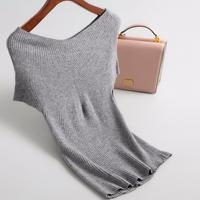 New women knitted sleeveless sweater women v neck loose top pullovers