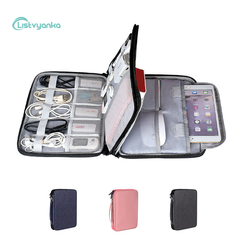 Cable Organizer Bag Layers Storage Pouch Electronic Gadget Charger Power Bank Case Digital Accessories Waterproof Travel