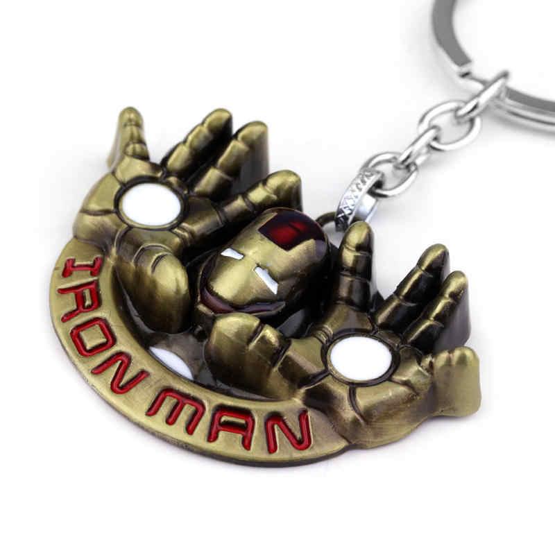 ซูเปอร์ฮีโร่ Avengers Iron Man พวงกุญแจ Tony Stork หน้ากากหมวกกันน็อกมือ Key ของขวัญวันพ่อ