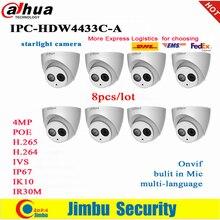 Dahua cámara IP PoE de 4MP, IPC HDW4433C A, 8 unids/lote, luz de estrellas con micrófono incorporado, IR30m, IP67, cámara de CCTV roja, reemplazo de IPC HDW4431C A