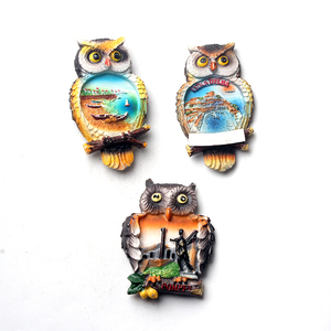 Сувениры для туризма с дизайном совы, магнитные магниты на холодильник из смолы для украшения, сувениры для путешествий, сувениры для сувен...