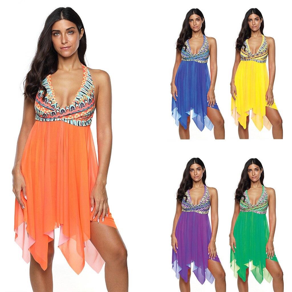 Hirigin New Plus Szie Women Swimming Suit 2020 Mesh Patchwork Dress-Liked Bikini Set Swimwear Women Summer Beach Bathing Suit