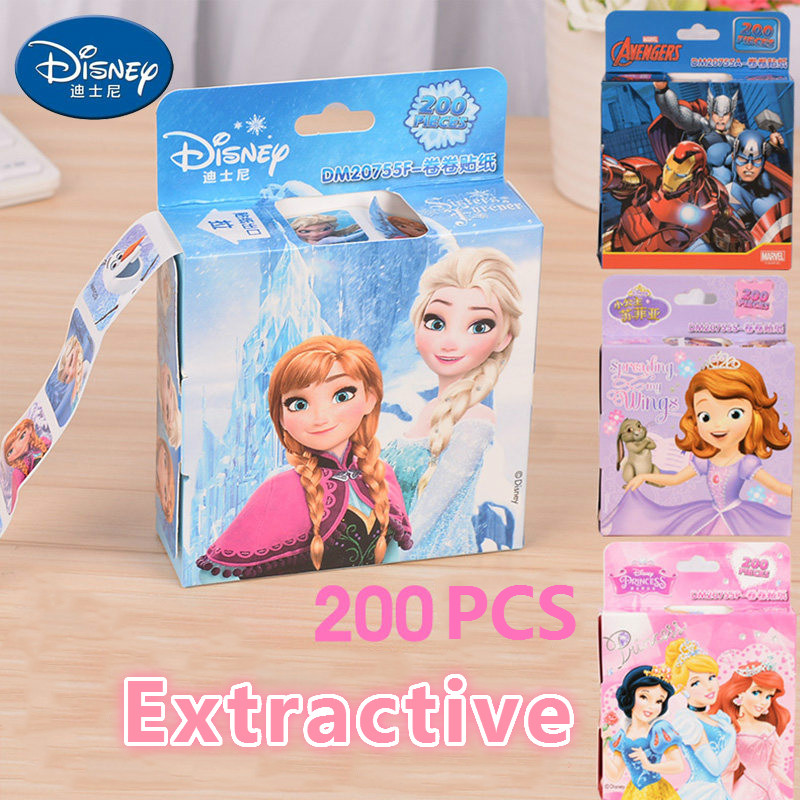 Disney Mickey Frozen Elsa Anna Removable Sticker Princess Scrapbooking For Decor Computer Notebook Cartoon Toy Stickers 200pcs