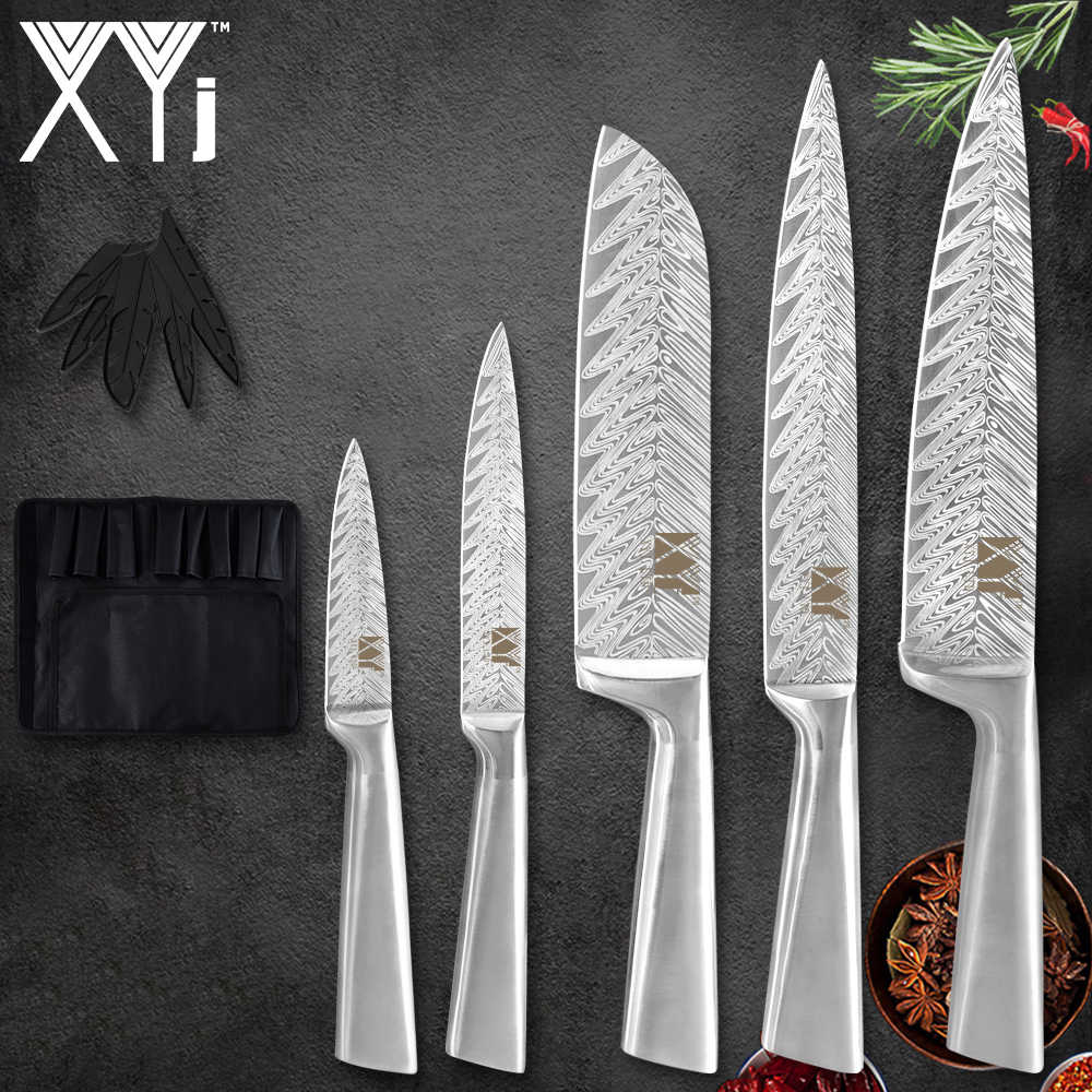 XYj 6pcs Stainless Steel Chef Knife Bag 8'' Slicing 7'' Santoku 5'' Utility 3.5'' Paring Knife Damascus Pattern Blade Knife
