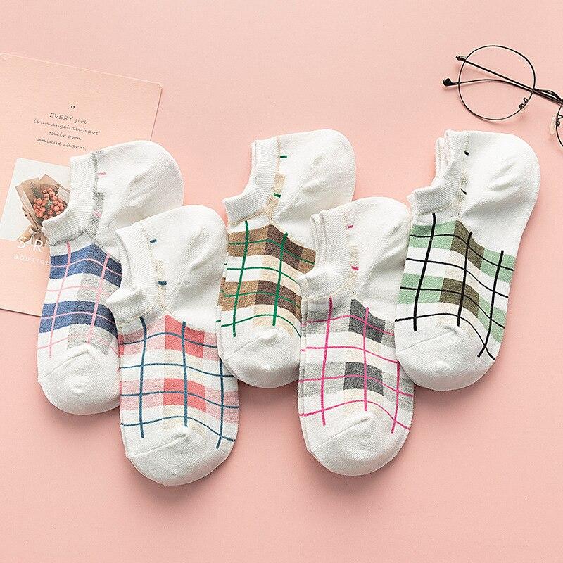 2020 New Women Cotton Socks Female Square Lattice Plaid Socks Girl Cute Harajuku Vintage Streetwear Casual Boat Socks