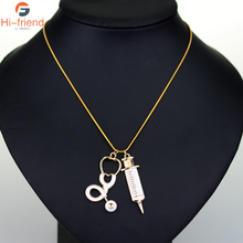 HOT SELL Medical Stethoscope Syringe Necklaces for Murse/Doctor Heart Collar Chain Necklace Women Jewelry