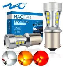 NAO P21W светодиодный BAY15D PY21W BA15S Белый 1300Lm Автомобильный светодиодный фонарь P21/5 Вт Сигнал поворота 1156 3030 6000K желтый тормозной Свет обратная лам...