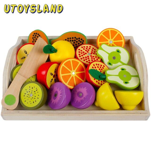 المغناطيسي خشبية الفاكهة والخضروات مزيج قطع مجموعات الالعاب لعب الأطفال والتظاهر محاكاة Playset