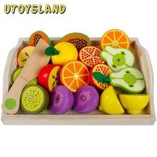 Conjunto de brinquedos de corte combinação de frutas e vegetais de madeira magnética crianças jogar & fingir simulação playset