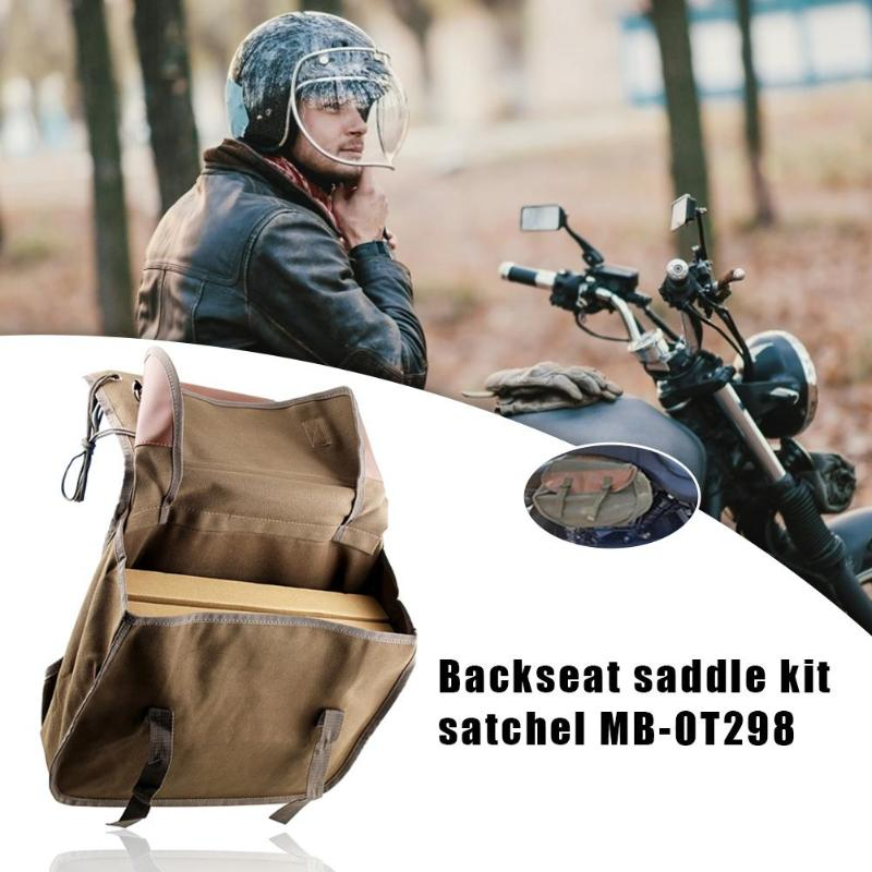 Canvas Motorcycle Side Bag Saddlebag Universal Satchel Cycling Portable Large Capacity For Vulcan Sportster Honda Shadow