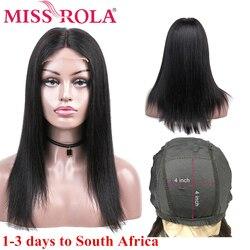 Fräulein Rola Spitze Schließung Menschliches Haar Perücken Peruanische Remy Haar 100% Menschliches Haar Gerade Natürliche Farbe 4*4 Spitze verschluss Perücke 8-26 zoll