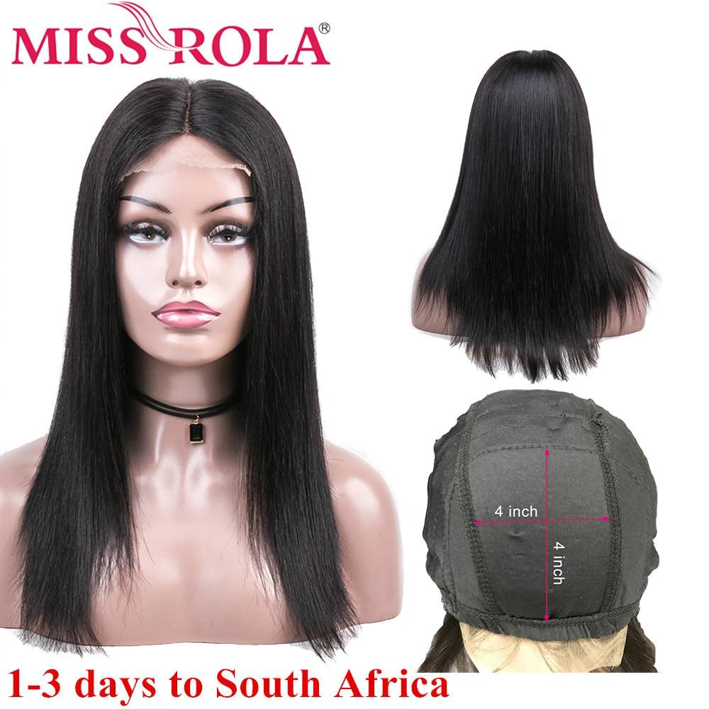 Miss Rola Lace Closure Human Hair Wigs Peruvian Remy Hair 100% Human Hair Straight Natural Color 4*4 Lace Closure Wig 8-26 Inchs