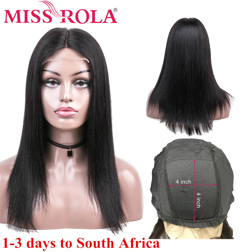 Miss Rola Lace Front Human Hair Wigs Peruvian Remy Hair 100% Human Hair Straight Natural Color 4*4 Lace Front Wig 8-26 Inchs