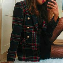 Elegant plaid tweed blazer