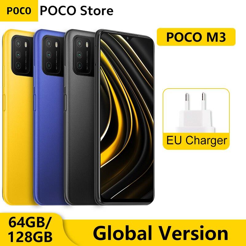 "Versión Global POCO M3 4GB 64GB / 128GB Smartphone Snapdragon 662 Octa Core 6,53 ""FHD + teléfono móvil 48MP AI Triple 6000mAh Cámara Teléfonos móviles    -"