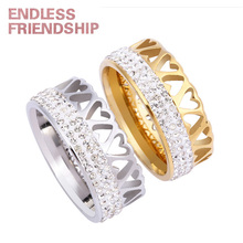 Endless Friendship New Silver Golden Lover Ring Fashion Heart Rings Diamond Couple Anniversary Gift anillos mujer