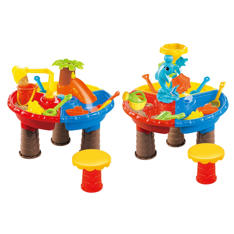 Kids Sand Pit Set Sand & Water Table for Toddler Sandbox Activity Table Beach Toys for Sand Castles Water Play