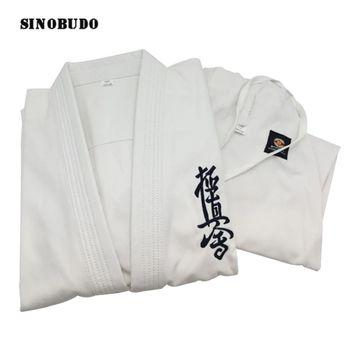 Nuevo Producto 2020 Kyokushinkai Dobok 12oz 100% algodón dogiCanvas Karate uniforme tipo Kimono Gi paño para niños adultos, cinturón blanco gratis