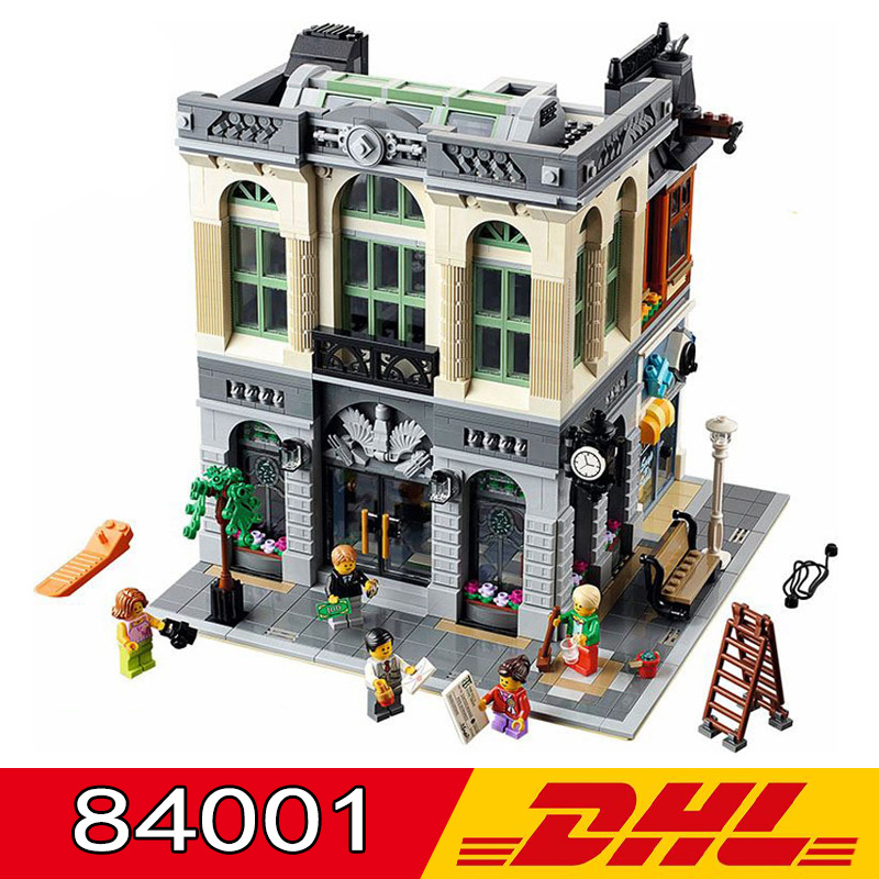 DHL 15001 84001 Compatible <font><b>Legoings</b></font> <font><b>10251</b></font> 2418pcs Swiss Bank Model Building Blocks Kits Bricks Children's Christmas Gift Toy image