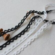 5 ярдов/партия ширина 1 см полумесяц водорастворимые кружева отделка ленты для одежды Швейные украшения черно-белые кружевные аксессуары DIY