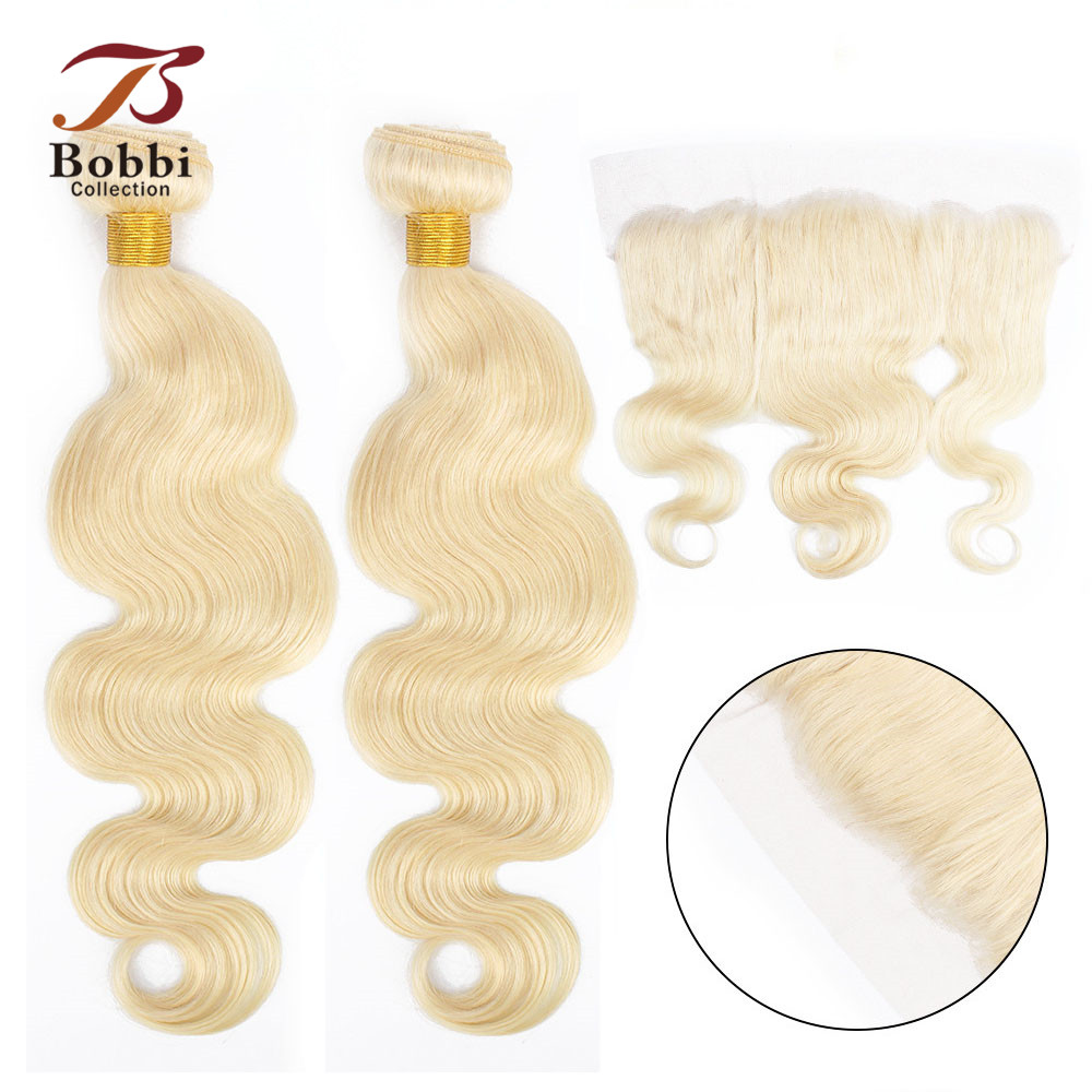 BOBBI COLLECTION Platinum Blonde 613 Bundles With Frontal Brazilian Body Wave Remy Human Hair Weave 2/3 Bundles With Closure