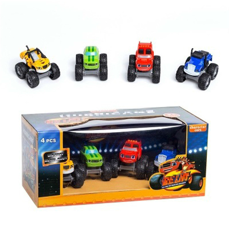 4pcs Monstere Machines Car Toys Russian Miracle Crusher Truck Vehicles Figure Blazed Toys For Children Birthday Gifts