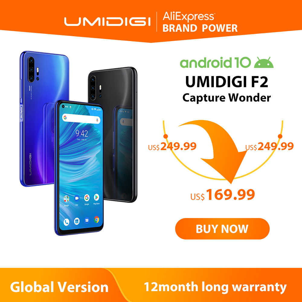 "UMIDIGI F2 Telefono Android 10 Versione Globale di 6.53 ""FHD + 6GB 128GB 48MP AI Quad Camera 32MP selfie Helio P70 Cellulare 5150mAh NFC"