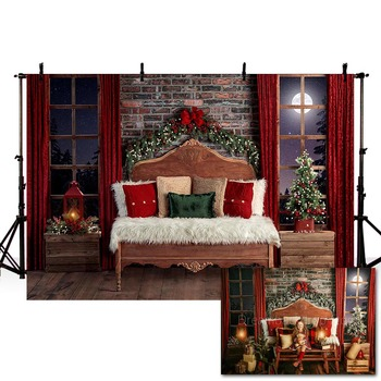 Mehofond Christmas Backdrop Winter Interior Window Moon Brick Wall Bedhead Portrait Photography Background Photo Studio Decor laeacco happy easter day flags chick haystack brick wall home decor scene photography backdrop photo background for photo studio