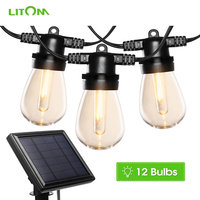 LITOM Solar Powered String Lights 12Pcs/lot Crystal LED Bulbs with 5 Light Modes Garden Xmas Party Waterproof LED String Lights