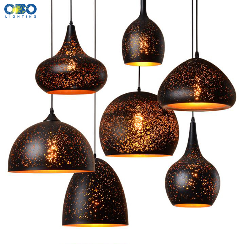 Vintage Pendant Lamp Black Iron Etching Lampshade Bar/Teahouse/Restaurant Indoor Lighting American Creative E27 Pendant Lights