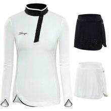 Женская юбка-шорты для гольфа, наборы, весенне-осенняя спортивная одежда, рубашки с длинным рукавом для девушек, тонкая одежда для бадминтона, спортивная одежда для гольфа
